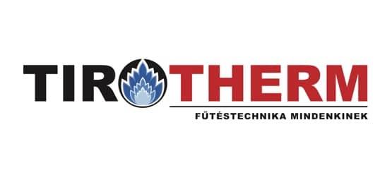 Logo TiroTherm. Tir in schwarz, Therm in rot geschrieben, dazwischen eine blaue Flamme.