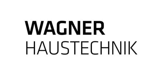 Wagner in schwarz und fett geschrieben, darunter Haustechnik in schwarz geschrieben.