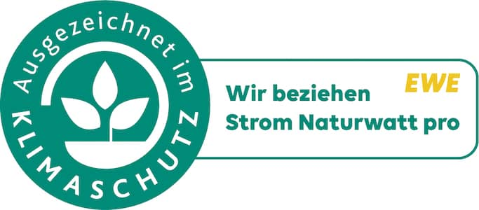 Klimazertifikat der EWE Vertrieb GmbH - Strom Naturwatt pro
