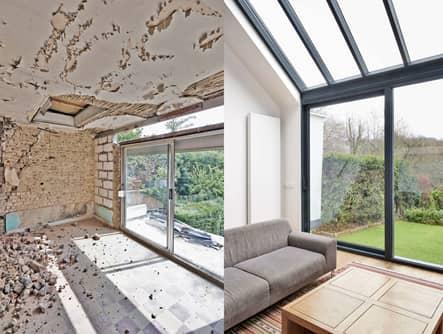 Ein Bild in zwei Teilen. Links als Schale, rechts mit Couch und Tisch eingerichtetes Wohnzimmer mit großer Glasfront.