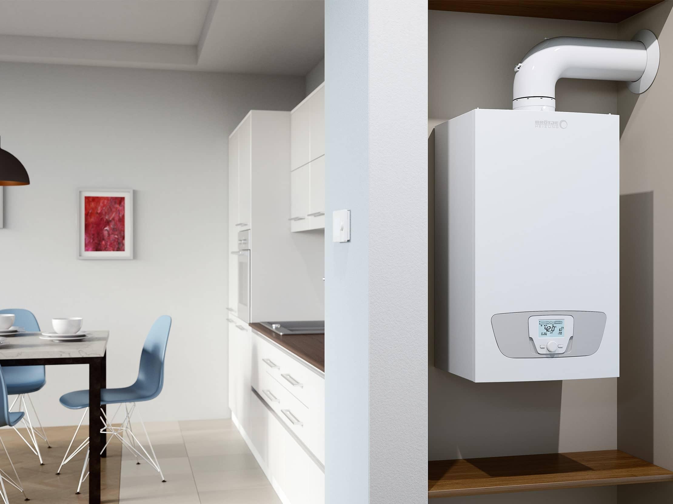 Die Gas-Brennwerttherme WMS, platzsparend in einem Gang seitlich der Küche untergebracht.