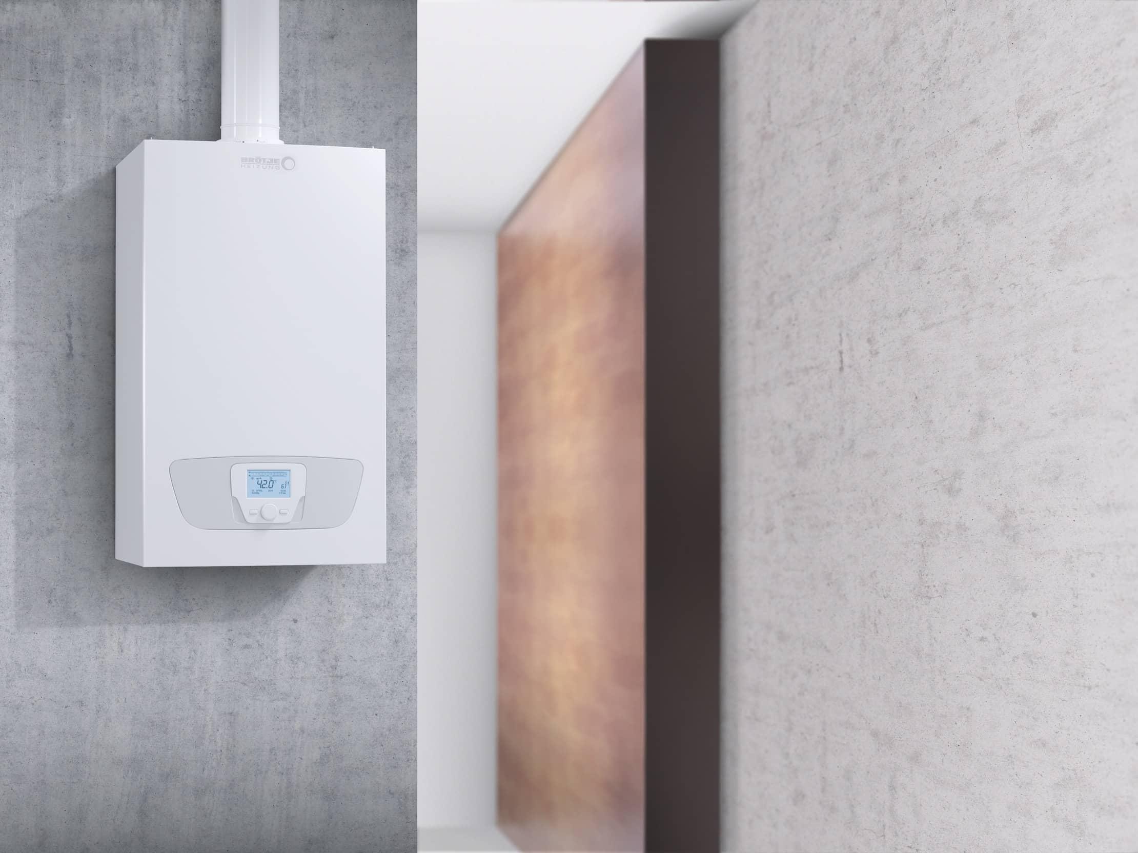 Die Gas-Brennwerttherme WMS/WMC an einer grauen Wand aufgehängt.