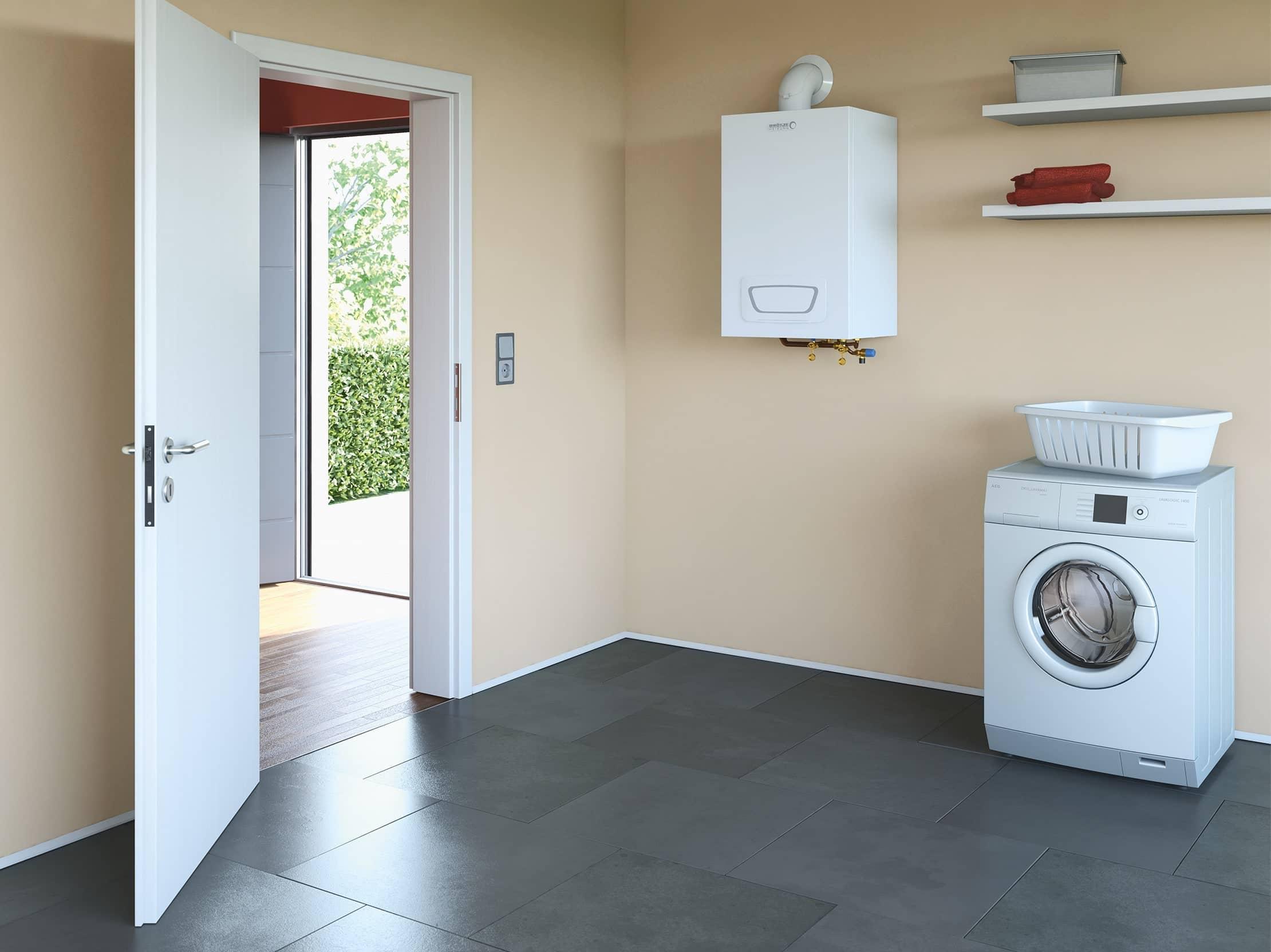 Der Gas-Brennwertwandkessel WGB-K EVO im Waschraum eines Hauses.