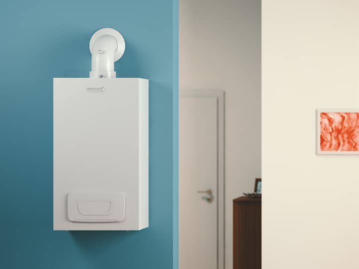 The wall hung boiler WHBS/WHBC from BRÖTJE is mounted on a light blue wall with a small orange image on the right.