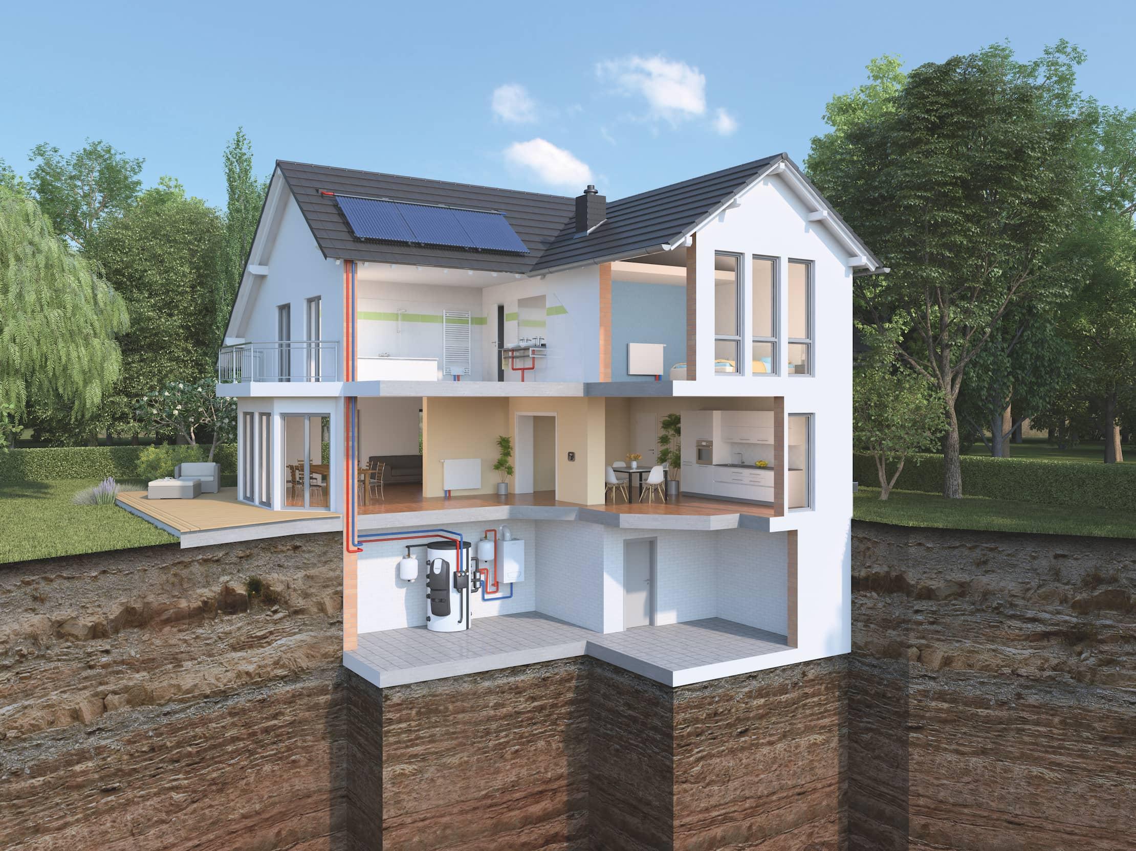 Aussenansicht eines Hauses mit Garten, mit einem Ausschnitt ohne Aussenwände, auf dem man den Weg der Montage der Heizung sehen kann.