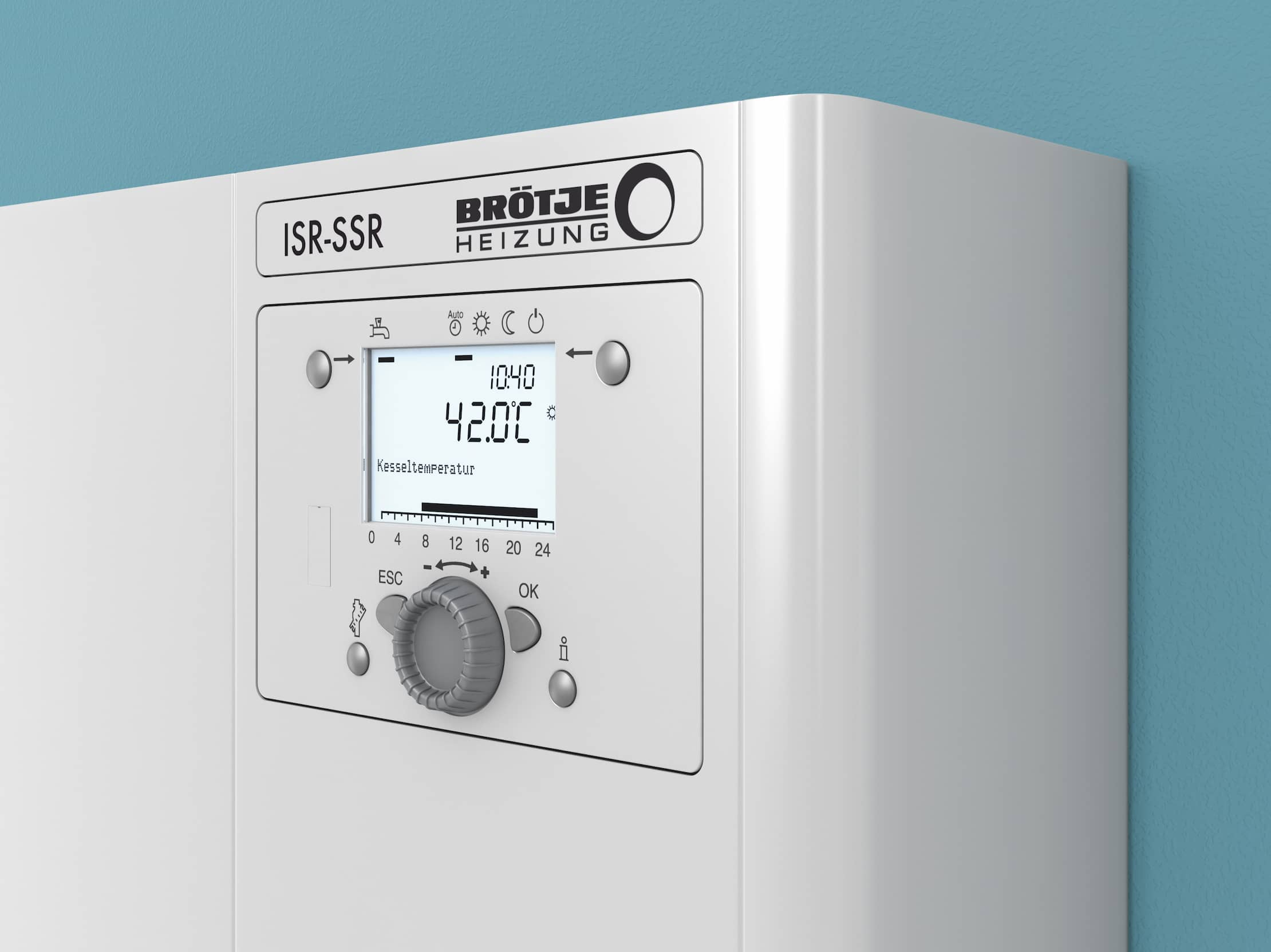 The control unit ISR Plus from BRÖTJE on a light-blue wall.