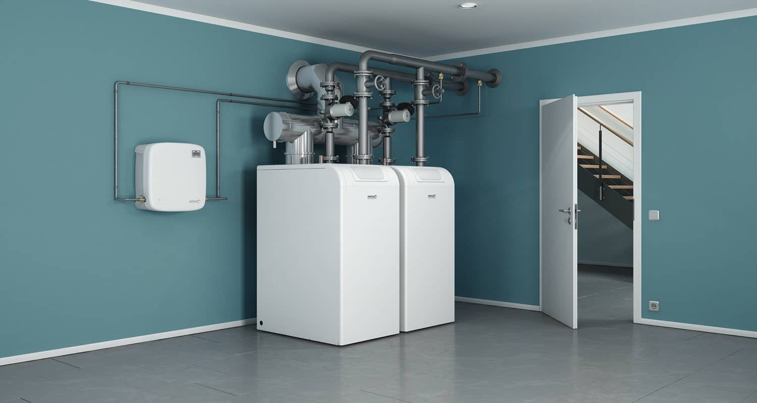 Two water treatment units, set up in the Tecknik room painted in light blue.