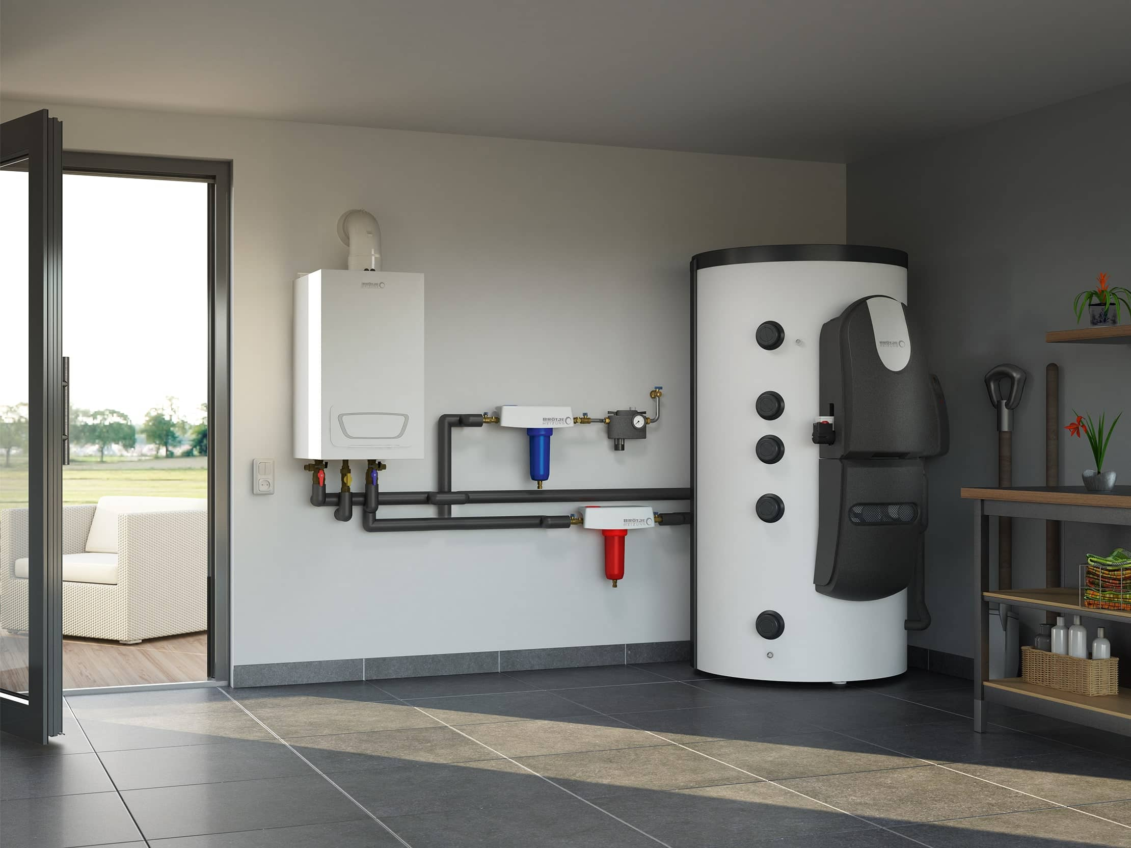 A water treatment device in white / grey, placed in the boiler room of a house overlooking a garden.