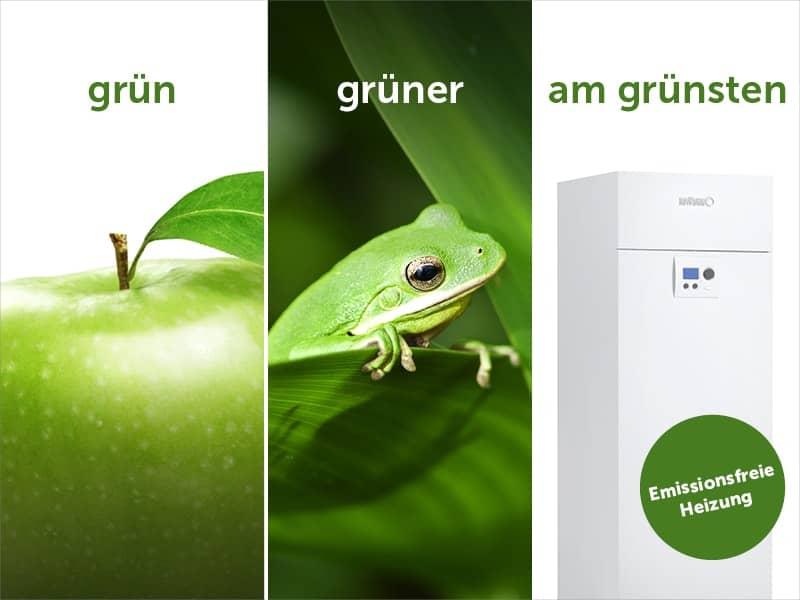 Kampagnenbild in 3 geteilt. Unter Titel Grün ist ein Apfel, unter Titel grüner ein Frosch und unter Titel am grünsten eine BRÖTJE Wärmepumpe.