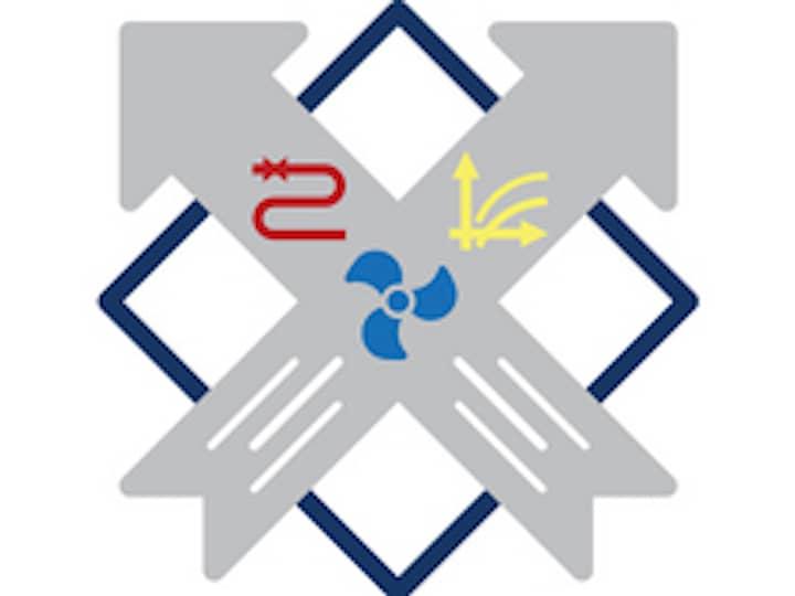 HLK Logo. Zwei graue Pfeile, die sich kreuzen auf einem schwarzen Quadrat. Jeweils in den Pfeilen unten drei feine, weiße Linien. Im Kreuzungspunkt ein blaues Windrad, im rechten Pfeil oben zwei gelbe, feine Pfeile, sowie zwei LInien. Im linken Pfeil oben eine rote Linie in S-Form.