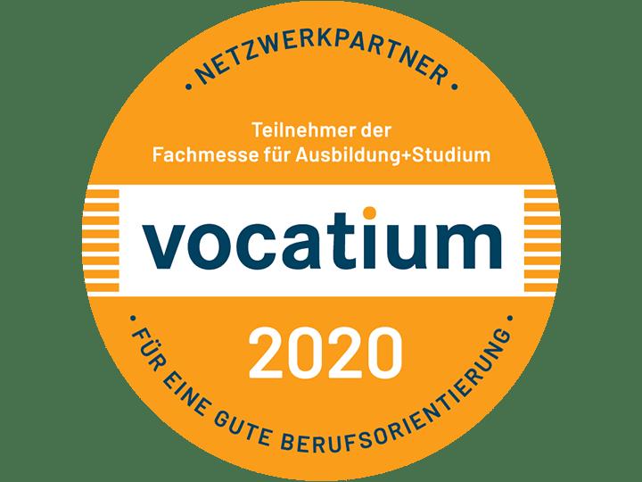 Vocatium Logo. Auf der Fachmesse für Ausbildung und Studium vocatium bieten die Gelegenheit, die Vielfalt der beruflichen Möglichkeiten in verschiedenen Regionen kennenzulernen.