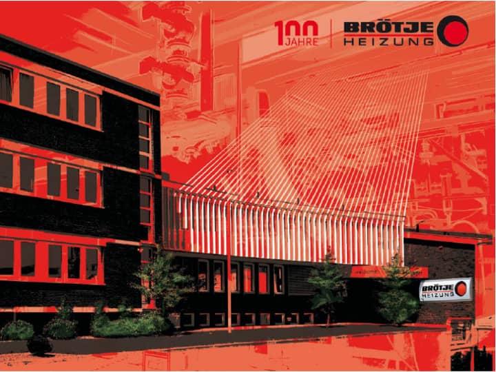 """Motto-Bild für """"100 Jahre BRÖTJE"""". Abstrahiertes Bild eines schwarzen Firmengebäudes mit BRÖTJE-Logo, darüber ein roter Hintergrund mit abstrahierter Maschinen-Struktur."""