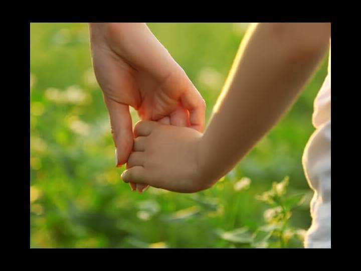 A woman's hand and a child's hand. Both hold each other and are walking across a flower meadow.
