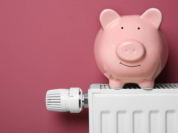A section of a radiator, on top of which there is a pink piggy bank.