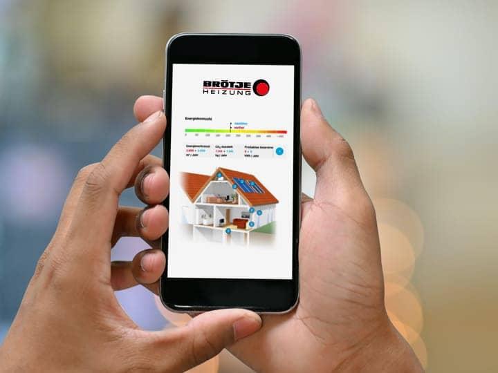 Die Energiesparrechner App wird auf einem Smartphone ausgeführt.