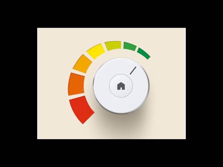 Ein rundes, weißes Bedienelement zum drehen. Zur Hälfte um den Drehknopf links sind die Farben der ErP-Richtlinien angeordnet.