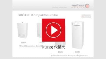 Links im Bild das Brötje Logo, rechts davon drei Produkte der Gasheizungen.