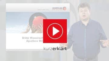 Bild für ein youtube Video der Wasseraufbereitungsgeräte. Im Bild ein Mann mit dunklem Hemd und dem Brötje Logo.